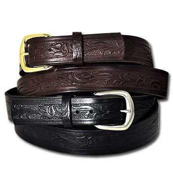 Tooled Leather Western Belt - MADE IN USA
