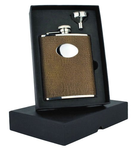 Personalised Engraved 6oz Brown Croc Faux Leather Hip Flask