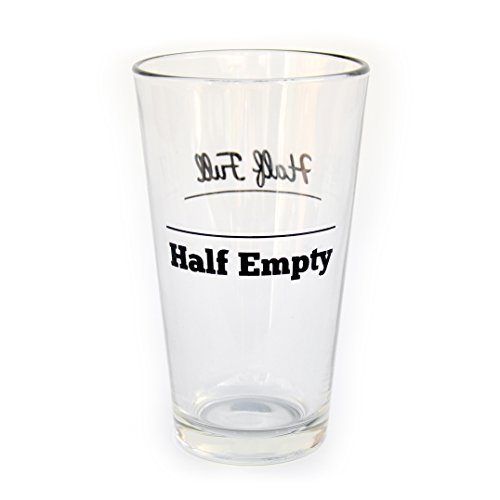 Half Full/Half Empty Funny Double-Sided Pint Glass (Half Full Mug compare prices)