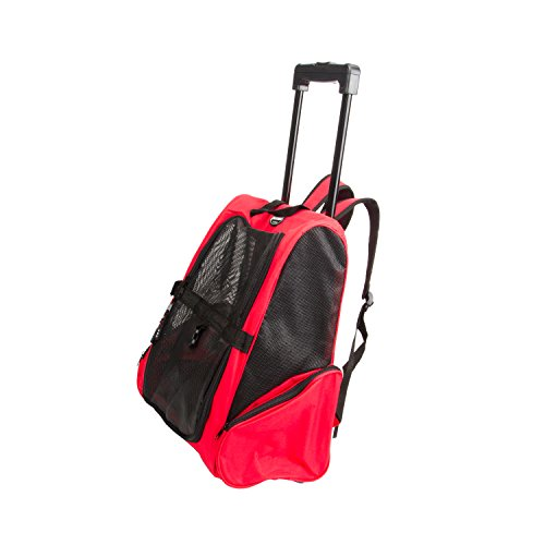 Pettom® 4-in-1 Pet Dog Roll Backpeck Carrier Dog Cat Travel Bags for Dogs- Airline Approved -Red