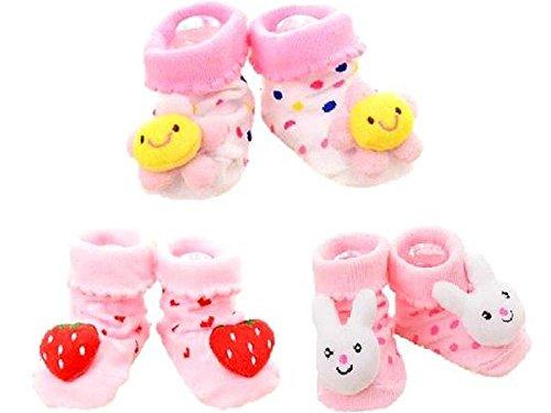 (ビーツリー)Betree ベビー 靴下 女の子 0~12か月 用 かわいい モチーフ 3点セット (イチゴ お花 ウサギ)