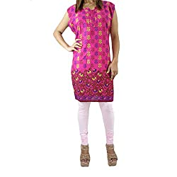 ShopMore Printed Kurta(XL_Pink)
