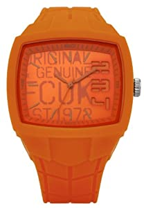 French Connection Unisex Quartz Watch with Orange Dial Analogue Display and Orange Silicone Strap FC1129O