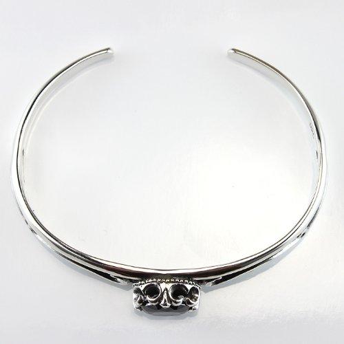 Sterling Silver Black Cubic Zirconia Bracelet with Freur De Lis