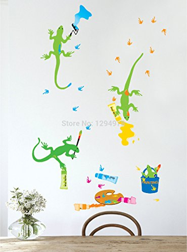 FunnyCraft Cartoon Geckos Paint Diy Removable Wall Stickers Nursery Kids Bedroom Home Decor Mural Decal Perfect Wall Stickers (Good Night Gecko compare prices)