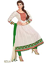 Vaamsi Womens Cotton Anarkali Salwar Suit Set (Saj7011 _White _Free Size)