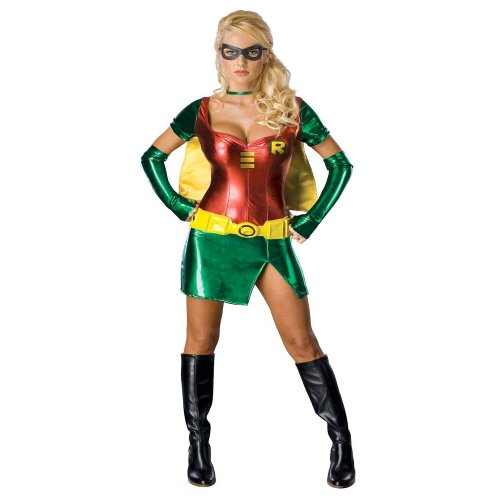 Ladies Sexy Female Robin Batman Sidekick Fancy Dress Halloween Costume - Medium