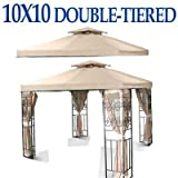 NEW 10 x 10 TWO TIER REPLACEMENT GAZEBO CANOPY TOP COVER SUN SHADE 10x10 BEIGE