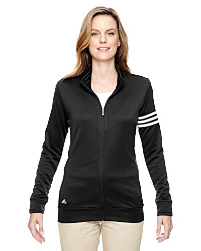 buy adidas A191 Ladies ClimaLite 3-Stripes Full Zip Pullover Jacket - Black & White, Medium for sale