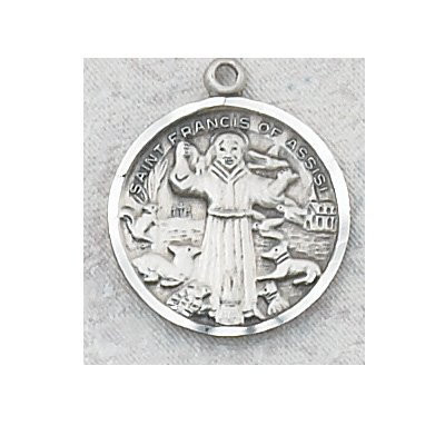 Sterling Silver St. Francis Medal with 18