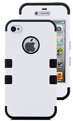 Mylife (Tm) Black And White - Flat Color Series (3 Piece Protective) Hard And Soft Case For The Iphone 4/4S (4G) 4Th Generation Touch Phone (Fitted Front And Back Solid Cover Case + Internal Silicone Gel Rubberized Tough Armor Skin + Lifetime Warranty + S