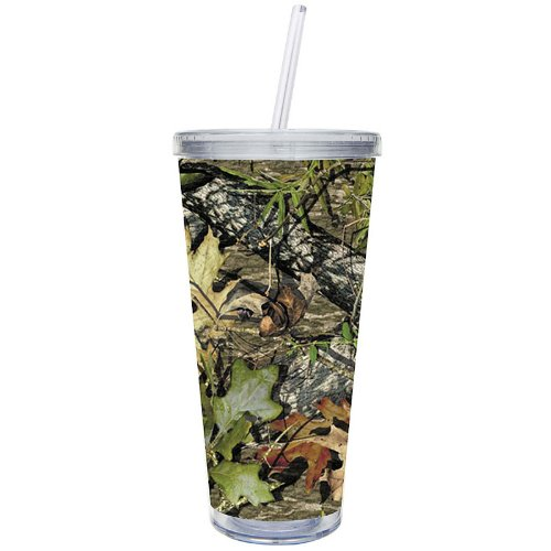 Cypress Home 20-Ounce Insulated Cup With Lid And Straw, Camouflage front-170685