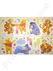 Winnie the Pooh Wall Stickers - 48 Colourful Pieces