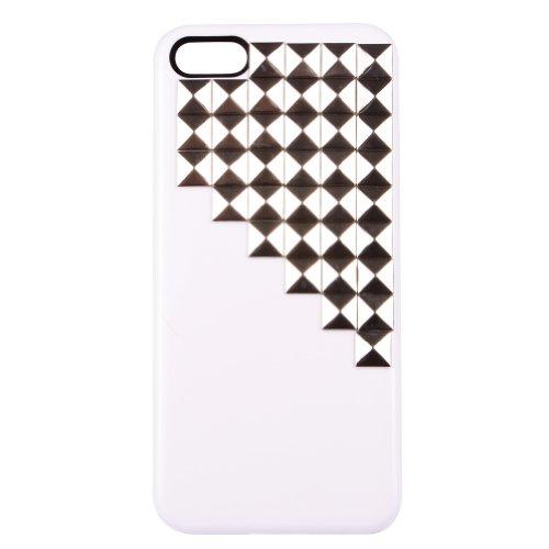 Con borchie piramidali Custodia rigida per iPhone 5/5S (rivetti in Argento + bianco)