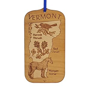 "Advent Ornaments State Souvenir ""VERMONT"", Laser Cut and Engraved Wood Christmas Tree Ornament"