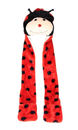 [COOLYES Novelty Kids & Adults Soft Plush Animal Winter Hat With Mitten Paws Ear Muffs 3 In 1 Function] (Ladybug Soft Costumes)