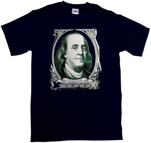 Benjamin Franklin $100 Bill Large Logo Men'S Tee Shirt Large-Black