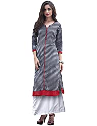 EthnicCrush Women's Cotton Printed Kurti(ECHTBinto1516,Black & White)