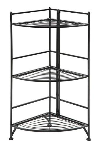 Convenience Concepts Designs-2-Go 3-Tier Folding Metal Corner Shelf, Black
