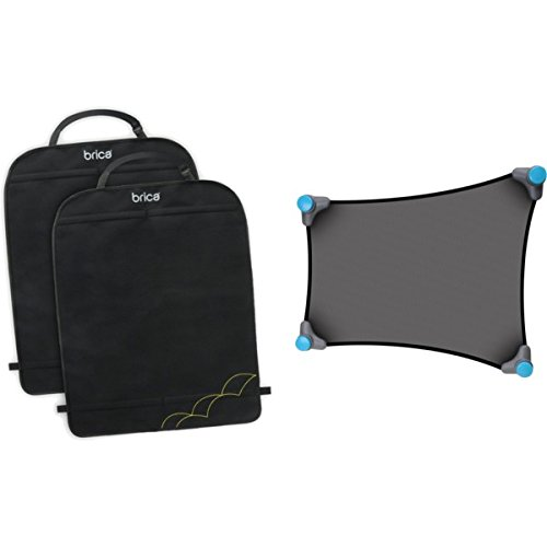 Brica Stretch-To-Fit Window Sun Shade & Brica Deluxe Kick Mats (2 Pack) Bundle front-521819