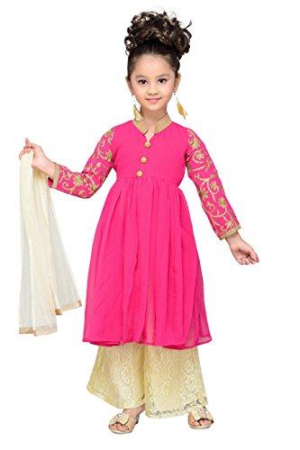 Aarika Girl's Party Wear Plazo Suit Set(CU-11_RANI_2-3 Years)