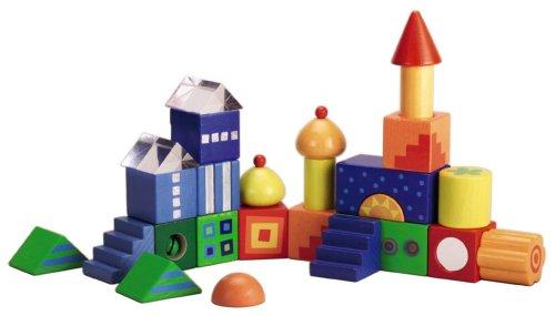 HABA Bausteine Fantasiesteine Ansicht aufgebaute Fantasiehäuser