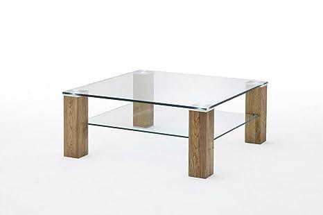 """Beauty.Scouts Couchtisch """"Tulsa"""" - Tisch, Couchtisch, Beistelltisch, Fernsehtisch, Glastisch, Klarglas, Massivholz, Asteiche, 90x40x90, 20kg"""