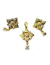 Poddar Jewels Cubic Zirconia Golden Designer Pendant Set
