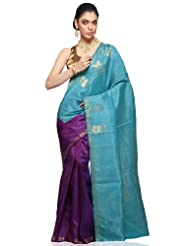 Utsav Fashion Light Blue and Purple Pure Kanchipuram Handloom Silk Saree with Blouse