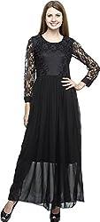 Dashy Club Women's Regular Fit Dress (VV-909-AC-BLACK LONG DRESS, Black, M)