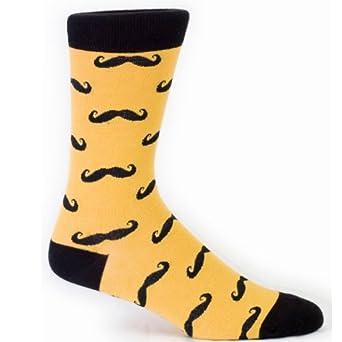 Sock It To Me Mustache Men's Dress Sock, Golden Rod/Black, One Size