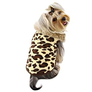 Adorable Padded Leopard Print Dog Vest with Fur Collar Size: X-Large