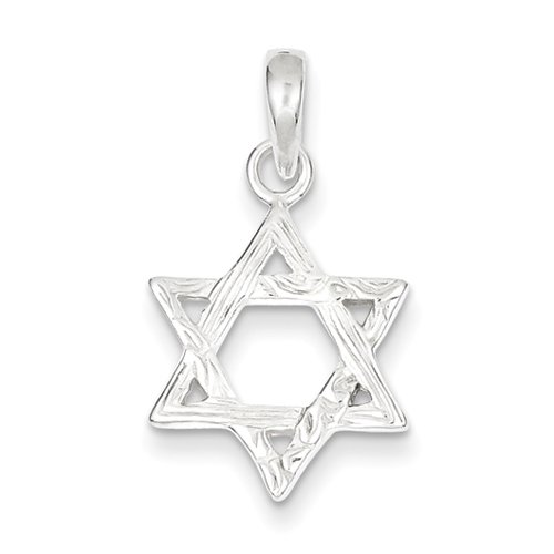 Sterling Silver Antiqued Textured Star Of David Pendant - JewelryWeb