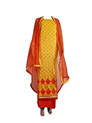 Shree Ganpati Handprint Women's Cotton Unstiched Dress Material(free size)