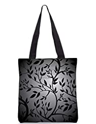Snoogg Black Trees Seamless Vector Wallpaper Designer Poly Canvas Tote Bag