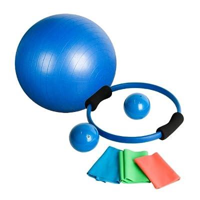 MOVIT® 7 teiliges Pilates Set, inkl. 1x Gymnastikball, 2x Medizinball, 1x Pilatesring, 3x Gymnastikbänder, Pilatesset Yogaset