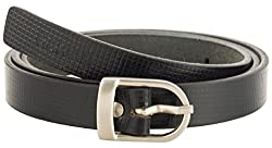 Garvan Women's Black Leather Belt (LBW 2-Black-C, Size : 32)