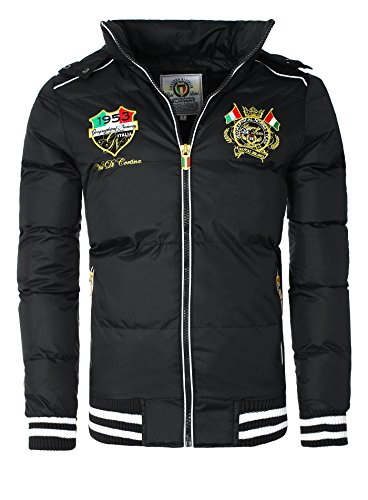 Herren Winterjacke in Daunenjacken-Optik Patches Stickerei Geographical Norway schwarz L
