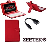 ZEETEK® **HIGH QUALITY VIEWSONIC VIEWPAD 10.1 TABLET LEATHER KEYBOARD CASE RED FOR MODELS 10/ 10E/ 10S/ 10PRO **