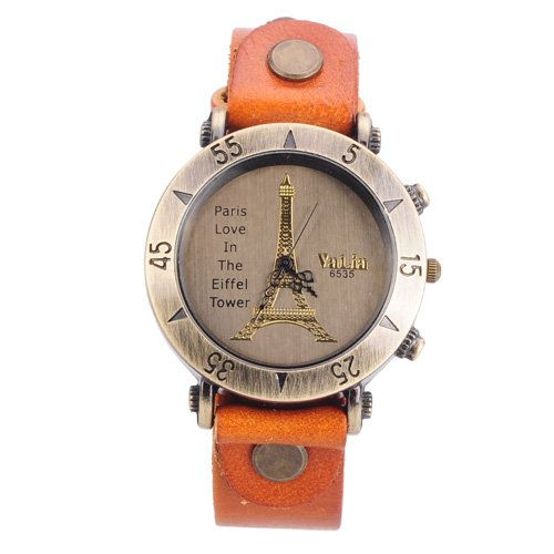 Valentine Gift 2013 Retro Fashion Quartz Watch Unisex Casual Wristwatches With Eiffel Tower Pattern