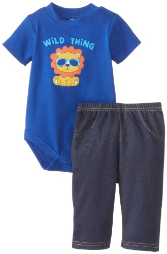 Bon Bebe Baby-Boys Newborn Wild Thing Bodysuit And Knit Denim Pant Set, Multi, 0-3 Months front-1067071
