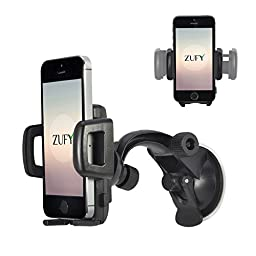 Cell Phone Holder for Car Windshield as Strong Suction Car Phone Holder From Zufy Offers Fully Adjustable 360 Rotation Compatible with Most Smartphones, universal fit.