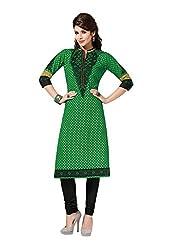 Aarvi Fashion Ethnicwear Women's Kurti Fabric(Green_Free Size)