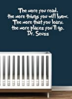 Dr Seuss Quote Vinyl Wall Decal-White-The More You Read Book Saying Quote Decal Nursery Decor-Dr Seuss Quote Vinyl Wall Decal-White-The More You Read Book Saying Quote Decal Nursery Decor by Vinyl Access LLC