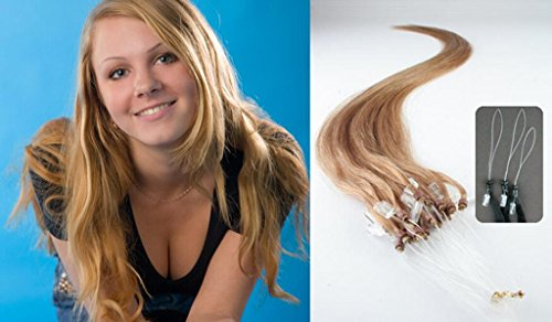 "Hairqueen 22"" Best-Selling 100S Real Loop Micro 100 % Remy Human Straight Hair Extensions,Strawberry Blonde(#27) 50G"