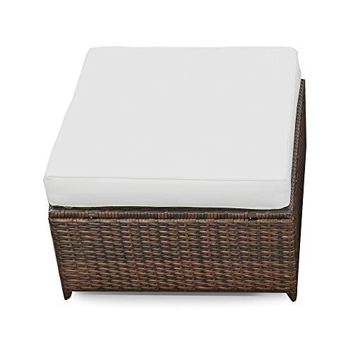 ® Polyrattan Lounge Möbel Hocker braun  Gartenmöbel Polyrattan