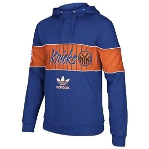New York Knicks adidas Originals Snap Pullover Hooded Sweatshirt - Blue by adidas Originals