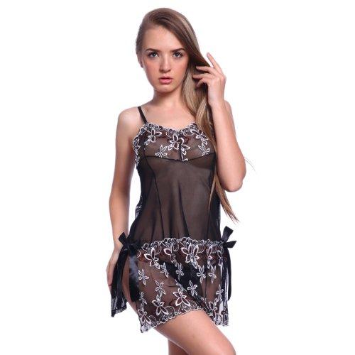 Sexy 2tlg Negligee Dessous Nachtkleid Schwarz Gr.S-XXL Reizwäsche Babydoll mit String Nachtwäsche Unterwäsche Spitze