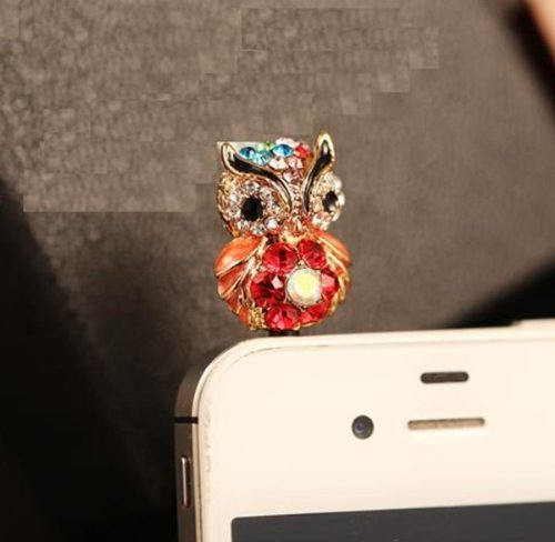 Big Mango Cute Crystal Owl Anti Dust Plug Stopper / Ear Cap / Cell Phone Charms For Apple Iphone 5 5S,Iphone 4 4S ,Ipad Mini Ipad 2 ,Ipod Touch 5 4,Samsung Galaxy S3 S4 Note3 Note 2,Htc And Other 3.5Mm Earphone Jack Phones ( Red )