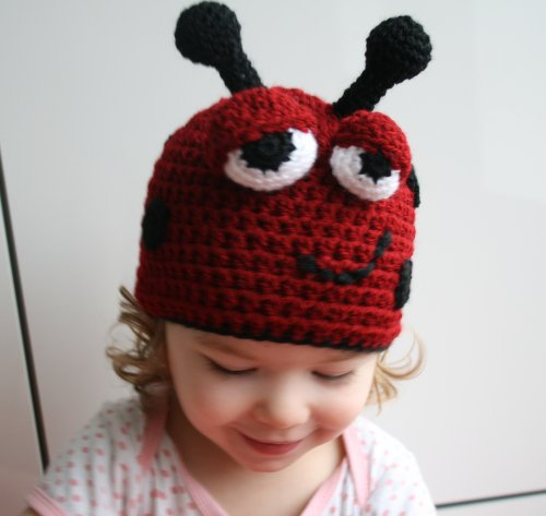 Crochet Pattern ladybird beanie (44) includes 5 sizes from newborn to adult (Crochet hats)